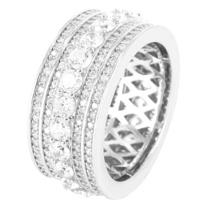 Master Of Bling Men's Iced Out Sterling Silver Solitaire Custom wedding Band Ring