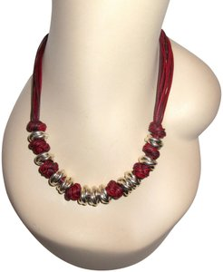 Milor Italy Chunky Knot Necklace Sterling Silver Red Multi Strand Modern