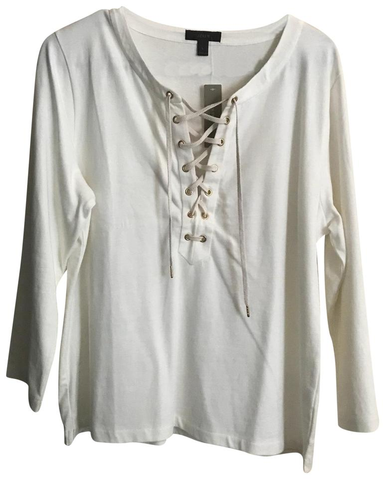 J.Crew Lace Up Tee Shirt Size 12 (L) - Tradesy 51623d772