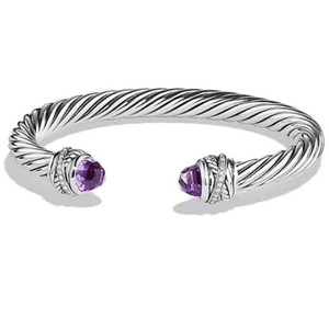 """David Yurman GORGEOUS!! David Yurman Crossover Amethyst and Diamond Cable Bracelet Cuff Sterling Silver 7mm Size: Small- 6.75"""" 0.13 carats Total Weight of Round Diamonds 100% Authentic Guaranteed! Comes with Original David Yurman Pouch!!"""