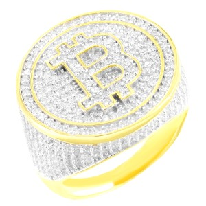 Master Of Bling Men's Iced Out Bitcoin Dollar Sign Sterling Silver Custom Ring