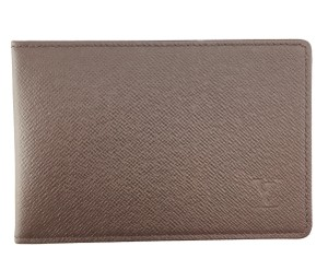 Louis Vuitton Taiga leather Bifold wallet pass ID case album card monogram logo