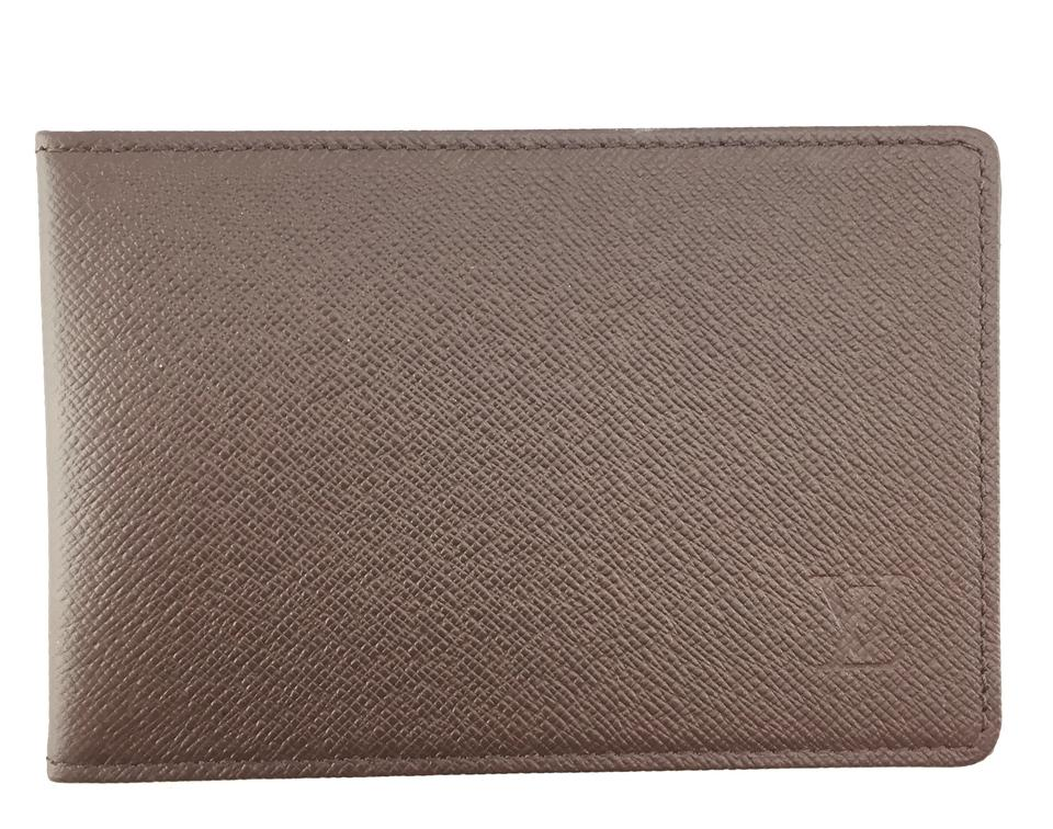 f55cf4ce9b3 Louis Vuitton Taiga leather Bifold wallet pass ID case album card monogram  logo Image 0 ...