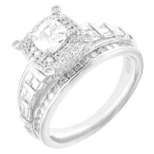 Master Of Bling Iced Out Princess Cut Baguette Sterling Silver Designe Engagement Ring