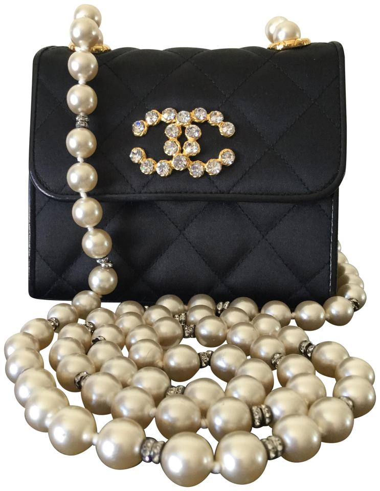 f26a58b18bda Chanel Classic Flap Super Rare Vintage Gripoix Pearl Mini Black Silk Cross  Body Bag