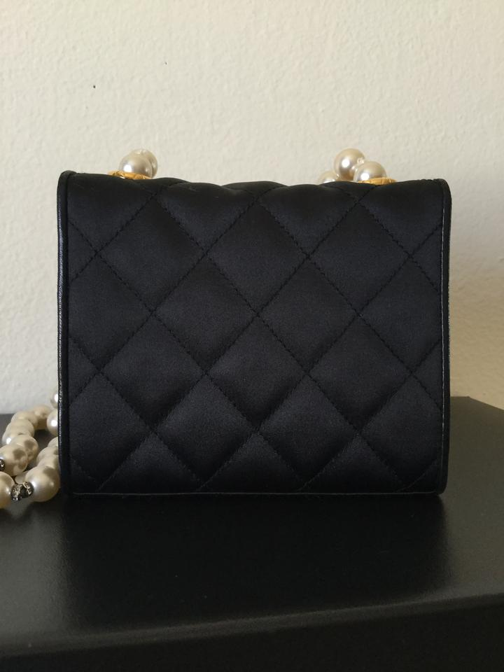 fc1192c88966 Chanel Classic Flap Super Rare Vintage Gripoix Pearl Mini Black Silk Cross  Body Bag - Tradesy