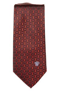 Versace Versace men's burgundy and red silk geometric print tie NWOT