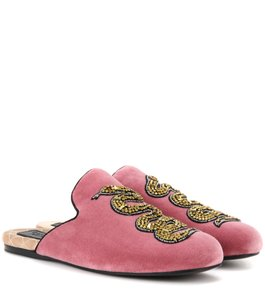 Gucci Lawrence Mules Velvet Pink Flats