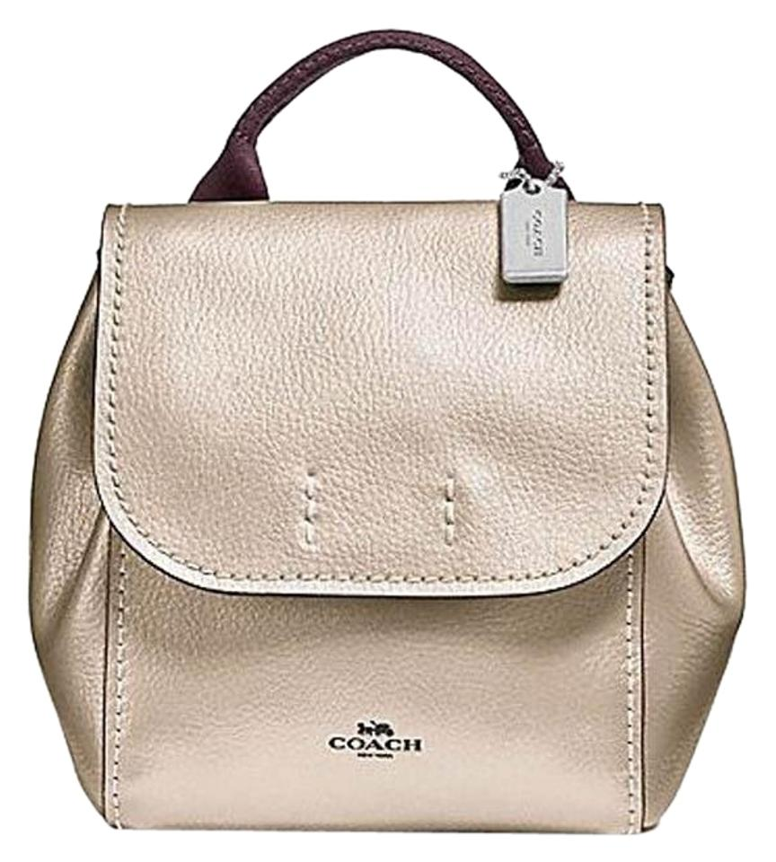 Coach Metallic Derby Small Platinum Pebbled Leather Backpack - Tradesy b65e63057dacd
