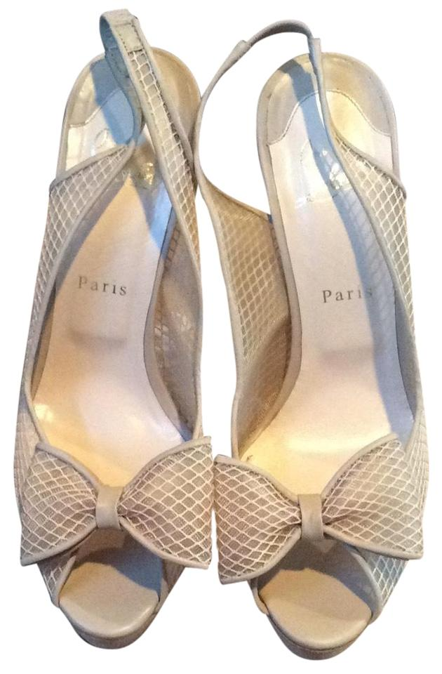 Christian with Louboutin Nude Fishnet Exclusive 140 with Christian Bow Platforms 45d4ae