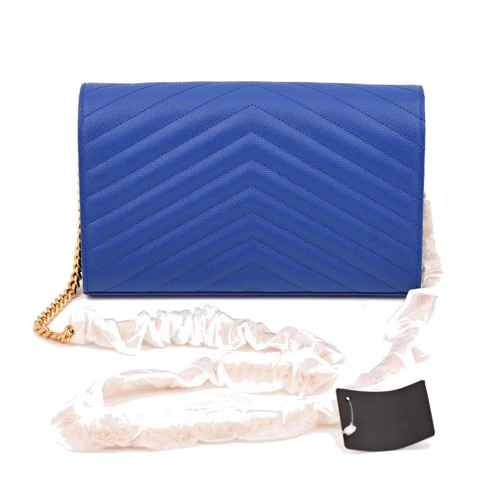 Cross Leather Saint Monogram Body Majorelle Bag Laurent Matelasse Blue Envelope Large nwq8fxg0Rq
