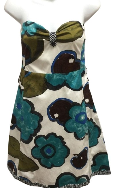 Item - Multi-color Maeve Study In Contrast Floral Strapless/Spaghetti Straps Short Night Out Dress Size Petite 6 (S)