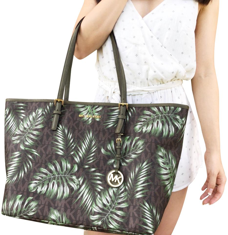 1a2597c14e1e Michael Kors Jet Set Travel Large Carryall Mk Olive Palm Leaves Brown Green Leather  Tote