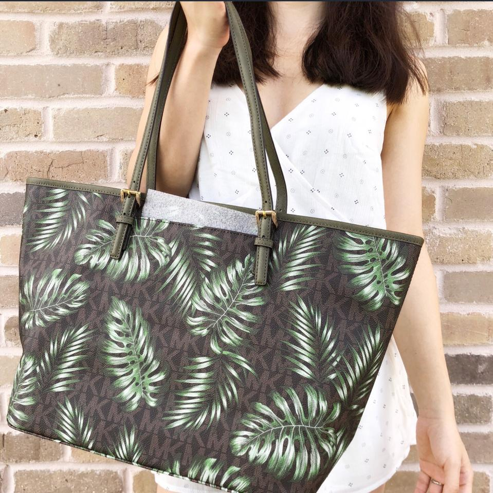 7649b1b10ceb Michael Kors Jet Set Travel Large Carryall Mk Olive Palm Leaves Brown Green  Leather Tote - Tradesy