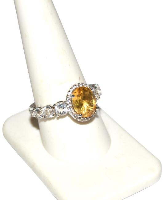 Item - Sterling Silver Oval Citrine and White Topaz 9 Ring
