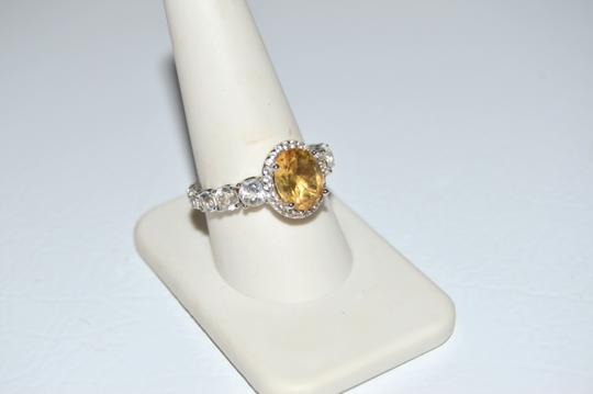 Colleen Lopez Colleen Lopez Oval Citrine and White Topaz Ring 9