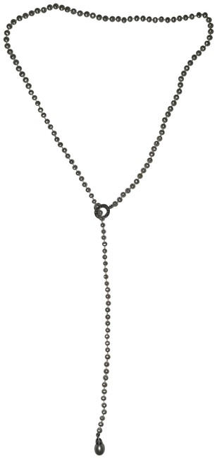Item - Pearl W Lariat W/14 Kt Wg Teardrop End Necklace