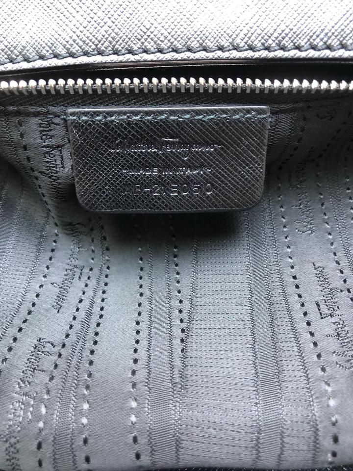 Bag Shoulder Silver Saffiano Salvatore Hardware Leather Black Chain Ferragamo with S74qp