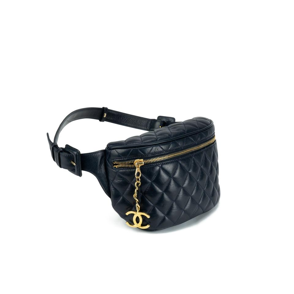 614e2ad67 Chanel Bum Vintage 90s Quilted Fanny Pack Waist Belt Rare Dark Navy Blue Lambskin  Leather Cross Body Bag - Tradesy
