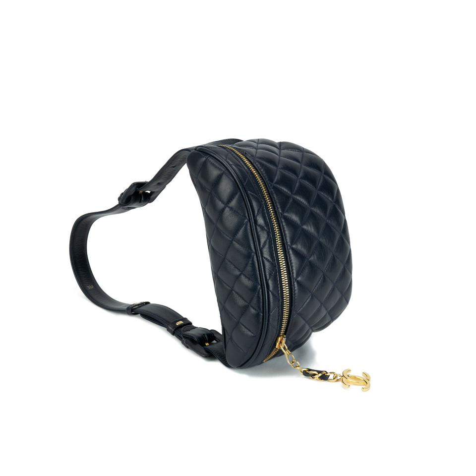 a81adc71c37b Chanel Bum Vintage 90s Quilted Fanny Pack Waist Belt Rare Dark Navy ...