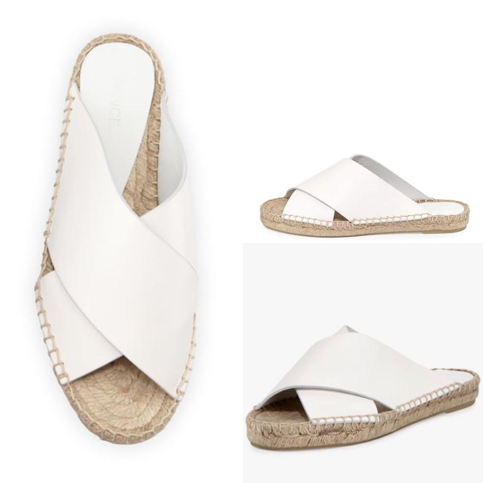 c39ab52a2284 Vince Espadrille Slide Leather Crisscross Strap White Sandals Image 4. 12345