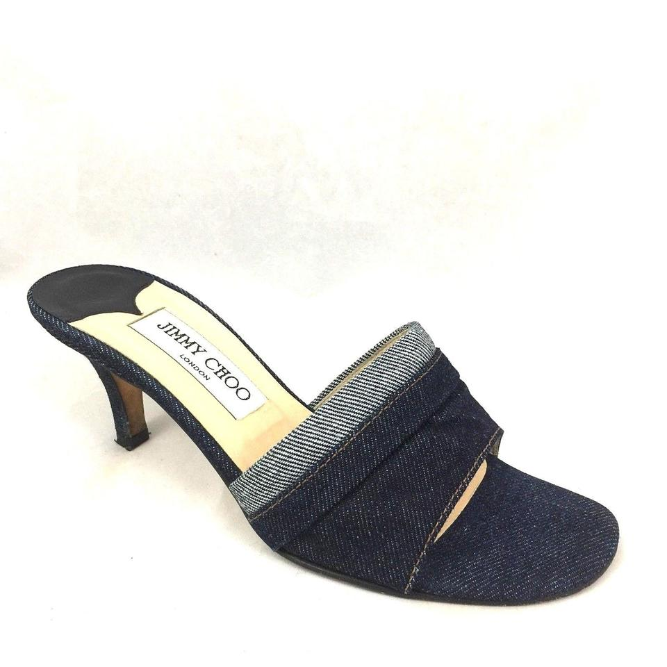 695142cd421 Jimmy Choo Blue Slip On Denim Two Tone Jean Sandal Open Toe 35.5 Mules  Slides
