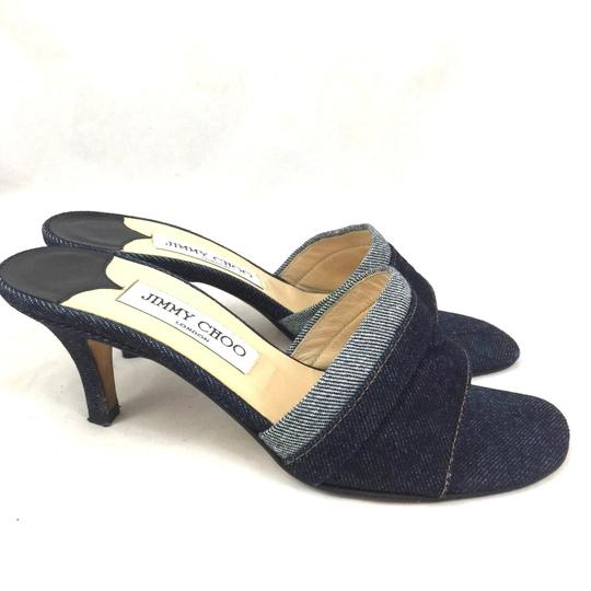 Jimmy Choo Denim Slide Open Toe Sandal blue Mules