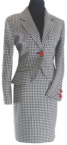 Moschino Vintage Red Heart Checked Houndstooth Tailored High Waist Skirt Suit