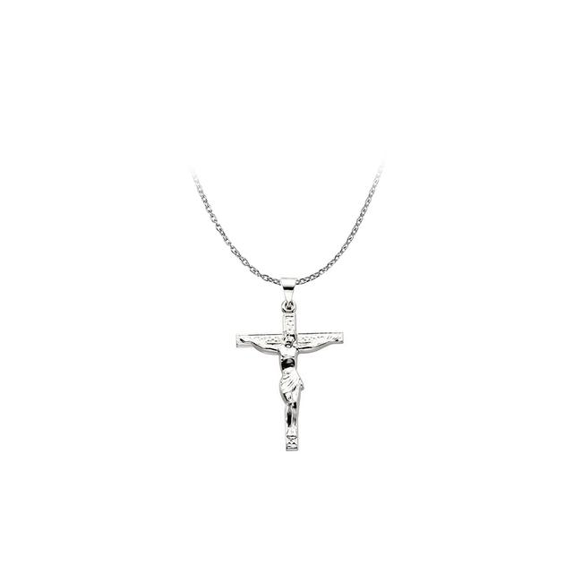 White Sterling Silver Lord Jesus Crucifix Religious Pendant Necklace White Sterling Silver Lord Jesus Crucifix Religious Pendant Necklace Image 1