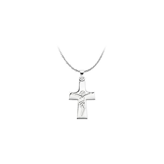 White Sterling Silver Engraved Lord Jesus Crucifix Pendant Necklace White Sterling Silver Engraved Lord Jesus Crucifix Pendant Necklace Image 1