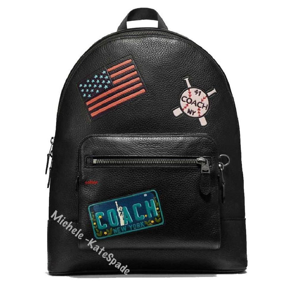 c2c767473ad Coach West Men s with Patches Black Leather Backpack - Tradesy