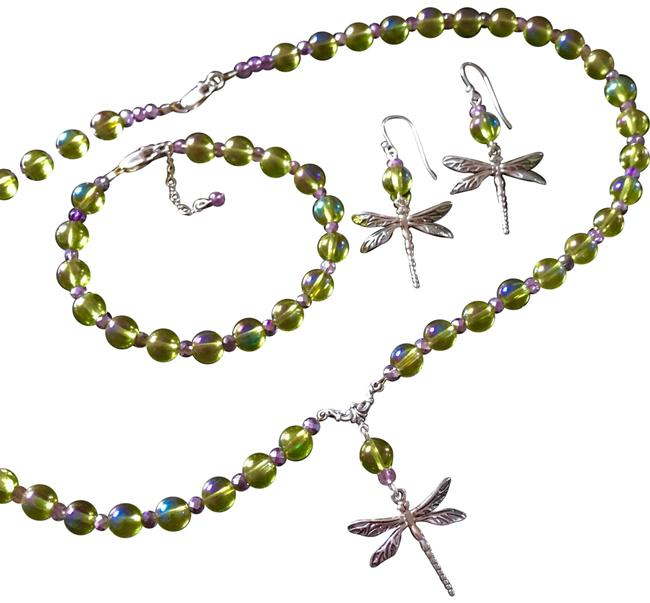 Green Lavender & Sterling Solid Silver Dragonfly Set Necklace Green Lavender & Sterling Solid Silver Dragonfly Set Necklace Image 1