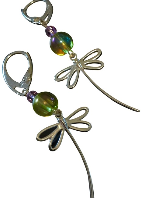 Sterling Silver Green & Lavendee Solid Dragonflies Iridescent Czech Druk Beads Crystals Earrings Sterling Silver Green & Lavendee Solid Dragonflies Iridescent Czech Druk Beads Crystals Earrings Image 1