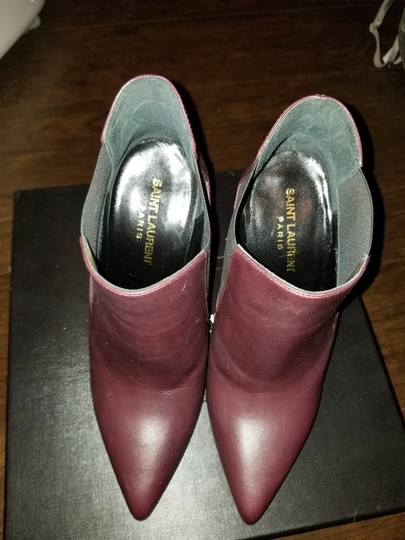 Saint Laurent Ankle Pointed Toe Burgundy Boots