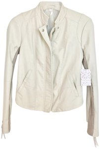Free People White Biker Chic ivory Leather Jacket