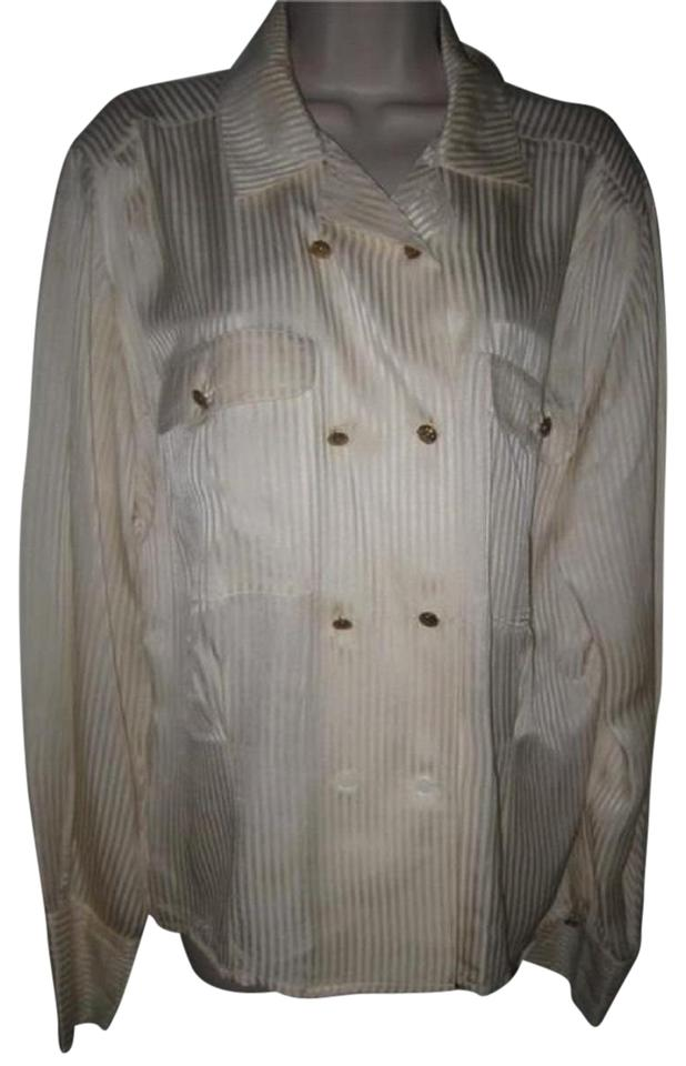 a602dd52fb193a Dior Mint Vintage French Cuffs Size 12 Vintage Top cream striped silk with  double-breasted ...