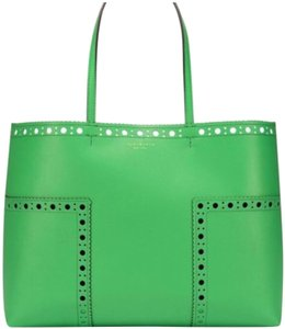 37f9758d6591 Tory Burch Perforated Spectator T Brogue Solid Tote in Green
