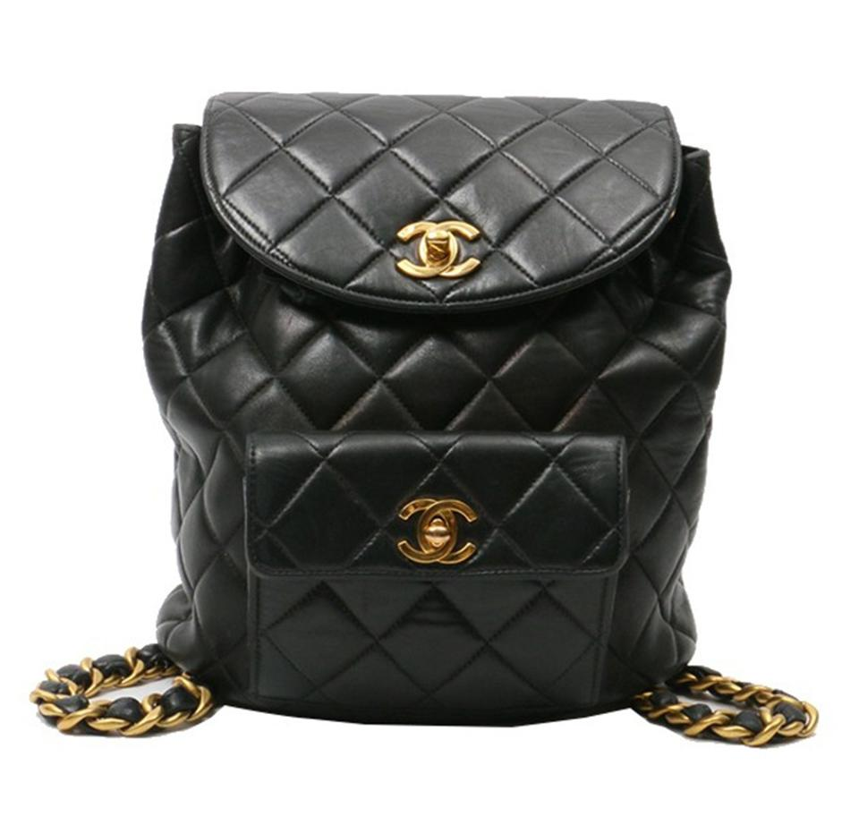 8f503aedf457 Chanel Vintage Quilted Cc Turn Lock Black Lamskin Leather Backpack ...