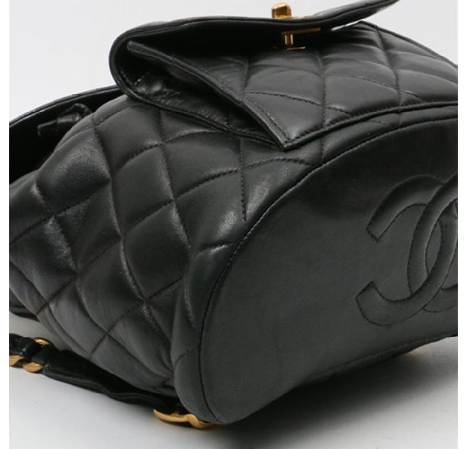 2b6495ed3bc1 Chanel Backpack Vintage Quilted Cc Turn Lock Black Lamskin Leather ...