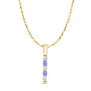 DesignerByVeronica Five Stone Tanzanite CZ Vertical Bar Pendant Vermeil