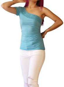 The Limited Ruffle One Shoulder Top turquoise
