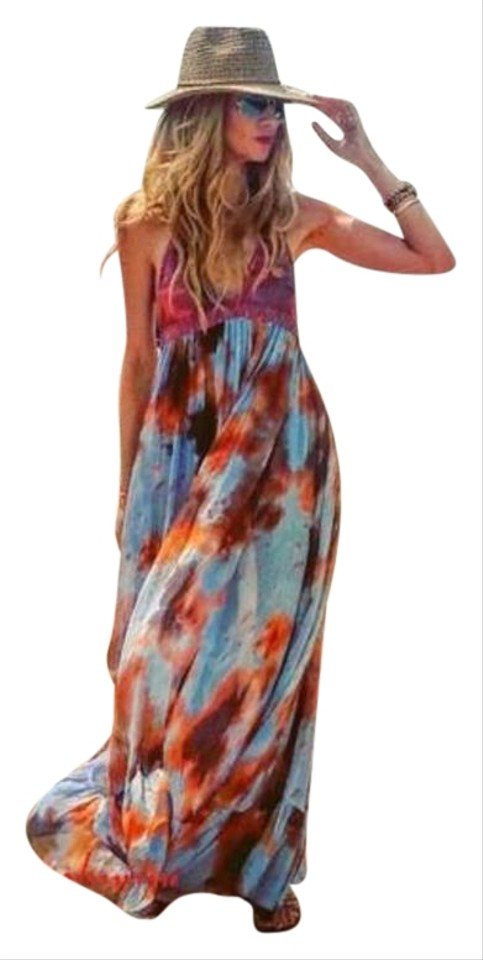 Casual Open color Zara Halter Dye Maxi Multi Back Dress Chiffon Crochet Tie qzqYwgf