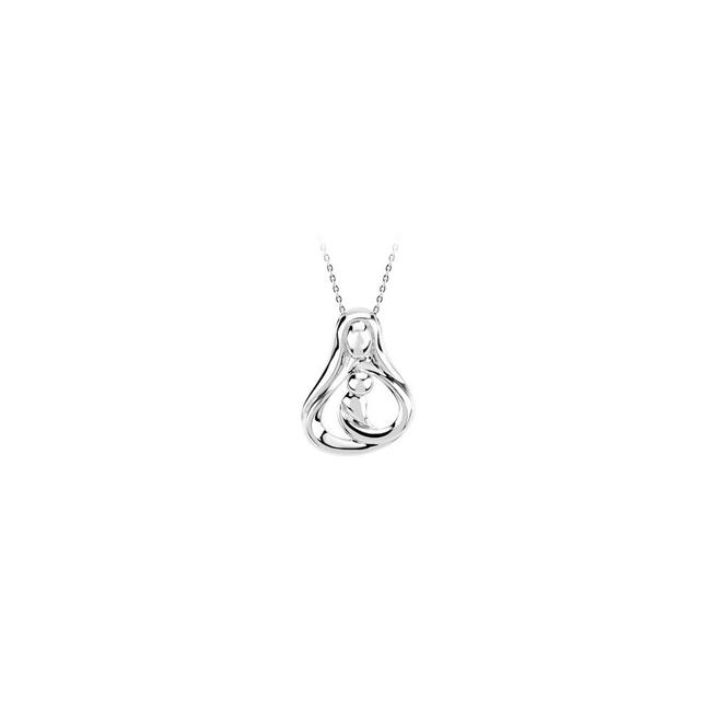White Heart Mother Sterling Silver with Fine Silver Chain --gift Necklace White Heart Mother Sterling Silver with Fine Silver Chain --gift Necklace Image 1