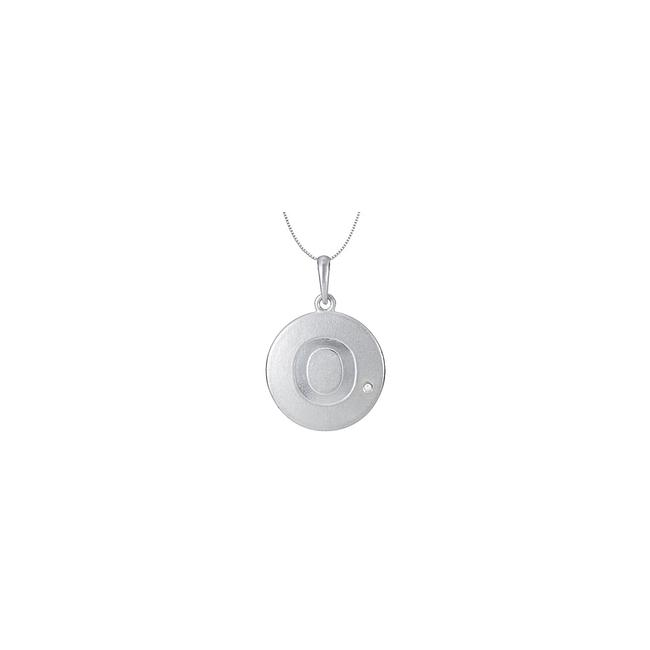 White Initial Pendant Letter O with Single Cz Disc In Rhodium Plating 925 St Necklace White Initial Pendant Letter O with Single Cz Disc In Rhodium Plating 925 St Necklace Image 1