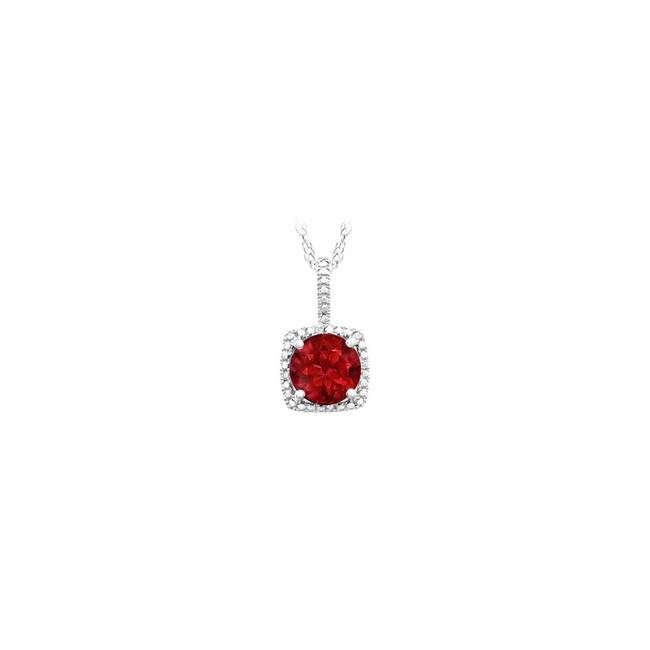 Red July Birthstone Created Ruby Pendant with Diamonds In 925 Sterling Sil Necklace Red July Birthstone Created Ruby Pendant with Diamonds In 925 Sterling Sil Necklace Image 1