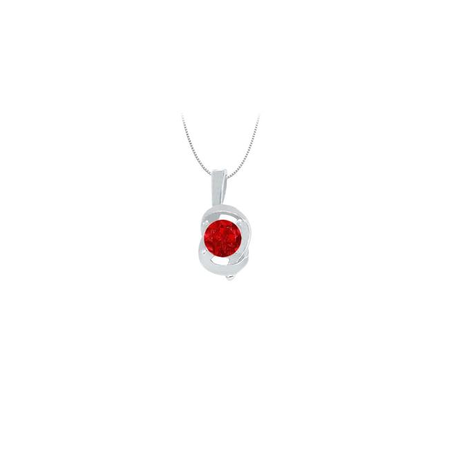 Red Knot Pendant In Sterling Silver with July Birthstone Created Ruby 0.5 Necklace Red Knot Pendant In Sterling Silver with July Birthstone Created Ruby 0.5 Necklace Image 1