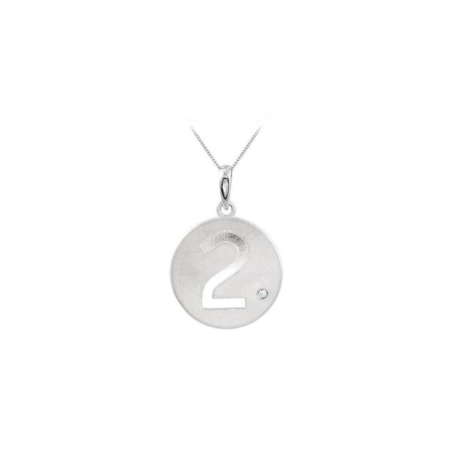 White Number 2 Engrave Disc Pendant In 925 Sterling Silver with Single Cz Tr Necklace White Number 2 Engrave Disc Pendant In 925 Sterling Silver with Single Cz Tr Necklace Image 1