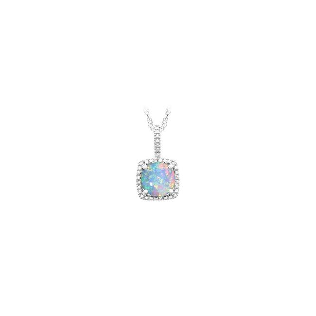 Blue October Birthstone Created Opal Pendant with Diamond In 925 Sterling S Necklace Blue October Birthstone Created Opal Pendant with Diamond In 925 Sterling S Necklace Image 1