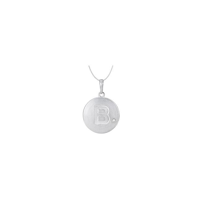 White Rhodium Plating 925 Sterling Silver Block Disc B Initial Pendant Neckl Necklace White Rhodium Plating 925 Sterling Silver Block Disc B Initial Pendant Neckl Necklace Image 1
