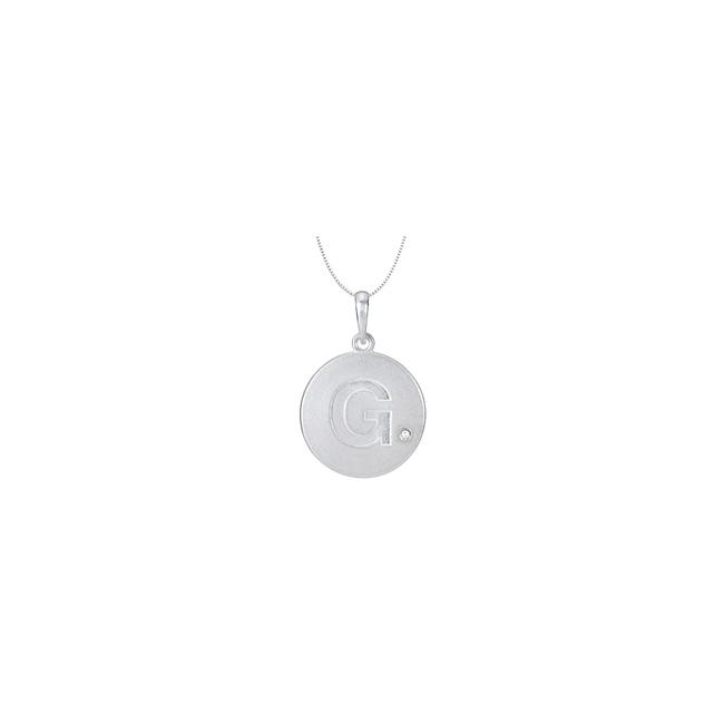 White Rhodium Plating 925 Sterling Silver Block Disc with Cubic Zirconia G I Necklace White Rhodium Plating 925 Sterling Silver Block Disc with Cubic Zirconia G I Necklace Image 1